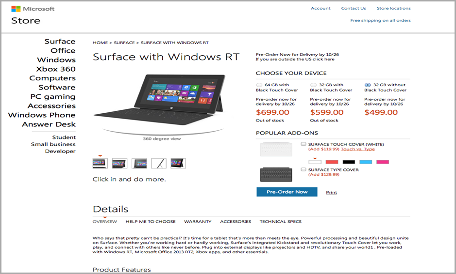 surface price