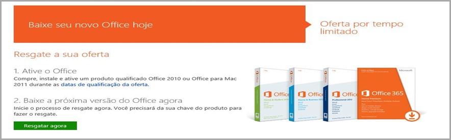 click na imagem Programa de Upgrade gratuito Office 2013